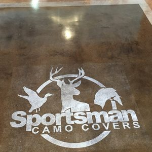 logo stamp on stained concrete floor