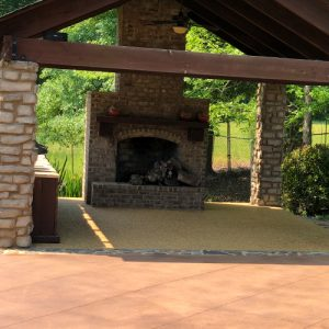 stained concrete outdoor patio with diamond etching accent