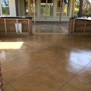 stained concrete outdoor kitchen